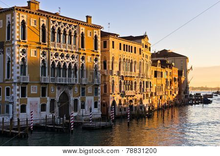 Sunrise in Venice at Grand canal near Academia bridge