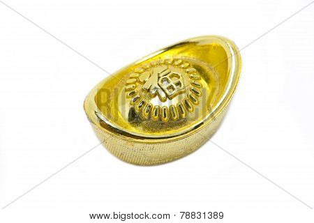 Chinese Gold Ingots Isolated On White Background.