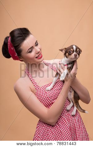 Pretty brunette  girl in retro style