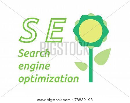 Seo Word With Flower Symbol