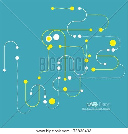 Abstract background with curved lines, dotted lines  dots.