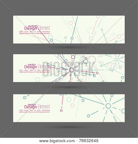 Set of vector banners with the explosion particle