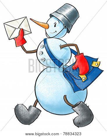 Funny Snowman-postman