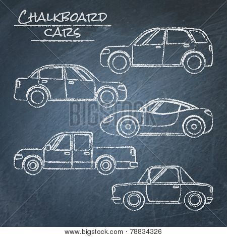 Set of car sketches on chalkboard