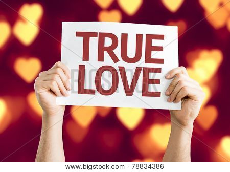 True Love card with heart bokeh background