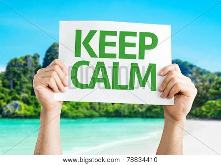 Keep Calm card with a beach on background