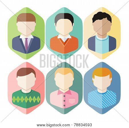 Man avatars characters on blue background