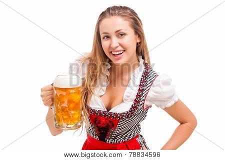 Bavarian girl over white background