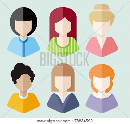 Women avatars portraits on blue background
