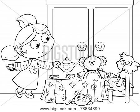 Cute girl playing with dolls