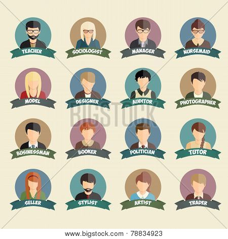 Set of colorful profession people flat style icons in circles