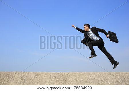 Happy Business Man Run