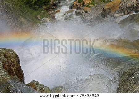 Alibek Waterfall. Dombay Mountains. The Northern Caucas. Rainbow