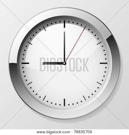 Classic wall clock with pointers at 9 o'??clock symbolizing beginning of working day.
