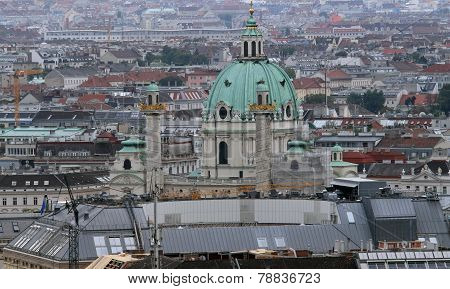 Aerial View Of The City Of Vienna With Church