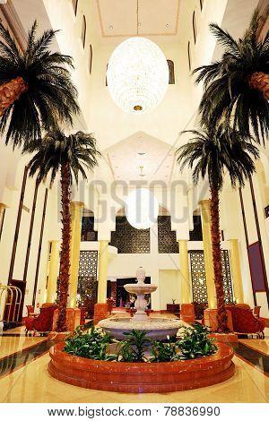 Lobby Interior Of The Luxury Hotel In Night Illumination, Ajman, Uae
