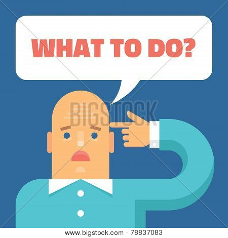 Human and hand - vector concept illustration in flat style design - What to do? Suicide, depression