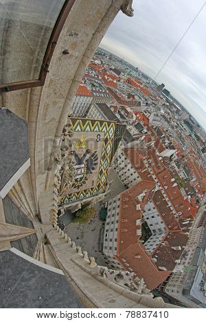 View Of The Vienna From The Bell Tower Of The Cathedral Of St. Stephen