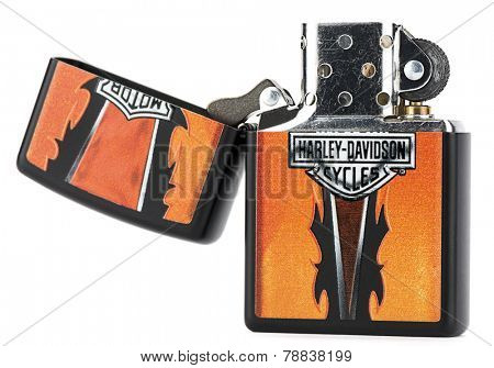 Ankara, Turkey - December 10, 2014:  Zippo reusable metal lighter with Harley Davidson theme on isolated on white background.