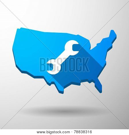 Usa Map Icon With A Monkey Wrench