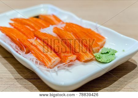Crab Stick With Wasabi And Sauce