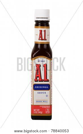 Los Angeles,California Dec 10th,2014: Nice Bottle of AI Steak Sauce on white