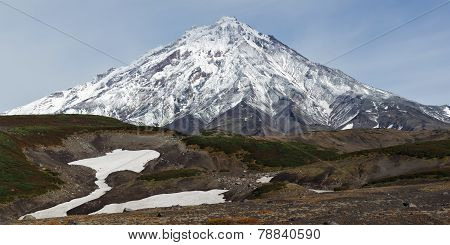 Beautiful Mountain Landscape Of Kamchatka: Koryaksky Volcano