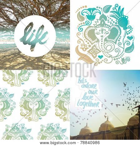 Banyan tree of life and inspirational travel quote poscard cover design with ganesha indian god pattern design