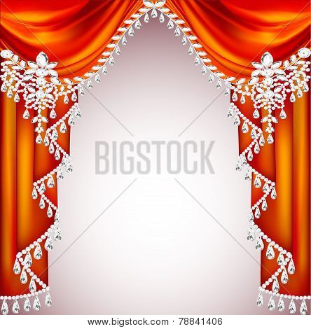 Background With Red Curtains With Precious Stones For Invitations