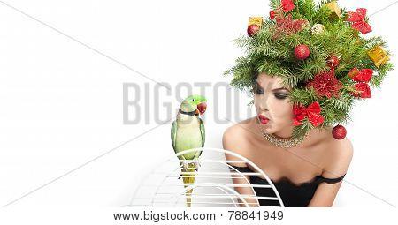Beautiful creative Xmas makeup and hair style indoor shoot. Beauty Fashion Model Girl. Winter
