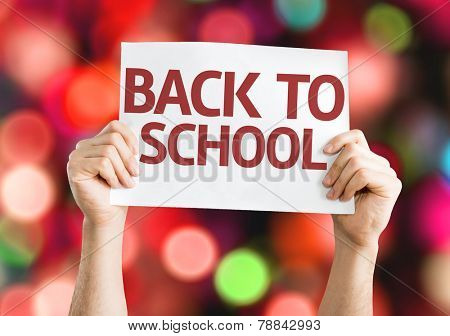 Back to School card with colorful background with defocused lights