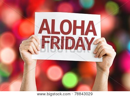 Aloha Friday card with colorful background with defocused lights