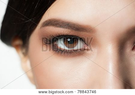 Closeup image of beautiful woman eye with bright makeup, macro.