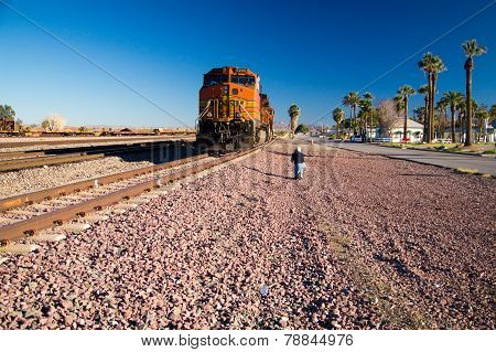 Photographer At BNSF Freight Train Locomotive No. 5240