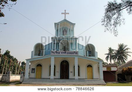 BASANTI, INDIA - DECEMBER 04, 2012: The Catholic Church in Basanti, West Bengal, India. There are over 17.3 million Catholics in India which represents less than 2% of the total population.