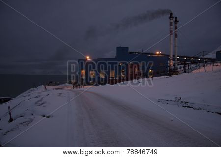 View Of The Russian Mining Settlement On Spitsbergen In The Far North During The Polar Night