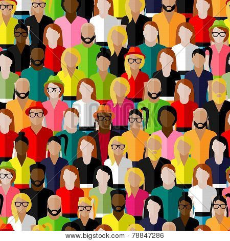vector seamless pattern with a large group of men and women. flat  illustration of society members.