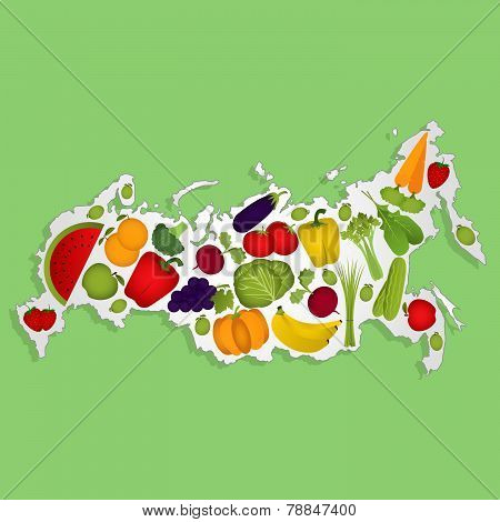 Map Of Russia With Fruits