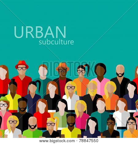 vector flat  illustration of society members with a large group of men and women. population. urban