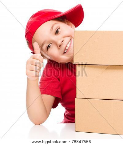 Happy Girl Holding Cardboard Boxes