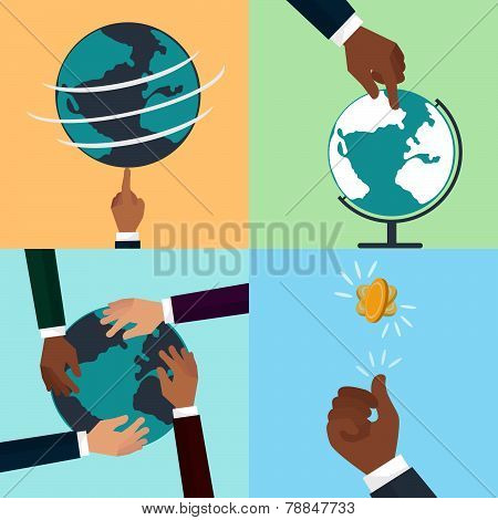 People Of Different Races Holding Planet Earth And Tan Hend Fliping A Coin