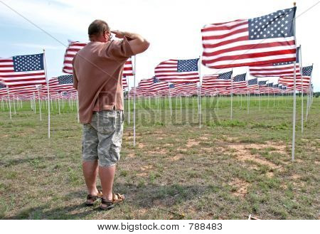 Man saluting flags