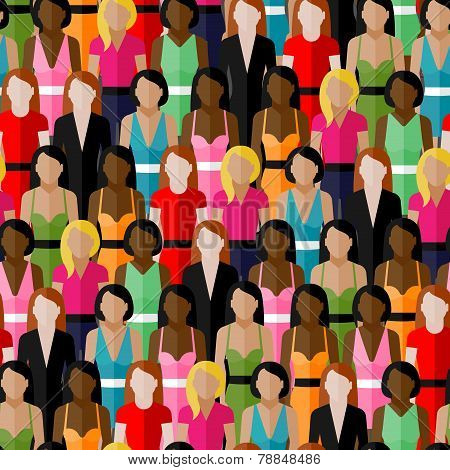 vector seamless pattern with a large group of girls and women. flat  illustration of female communit