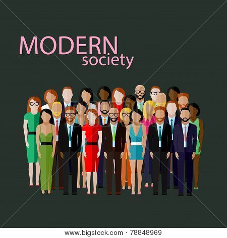vector flat  illustration of business or politics community. a large group of well- dresses business
