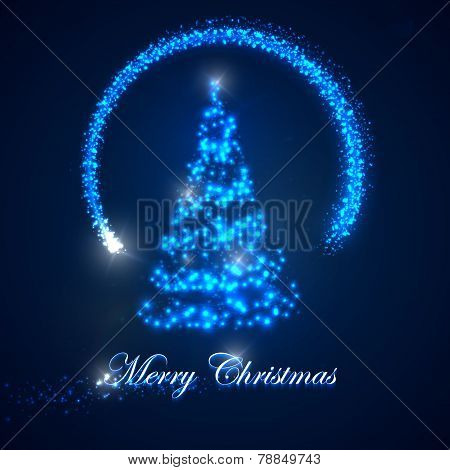 vector holiday illustration of  Christmas tree. shiny lights sparkles, and flying magic star. Merry