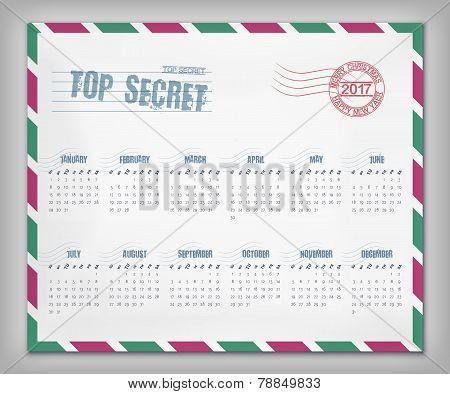 Calendar With Postal Envelope On 2017 In Vector