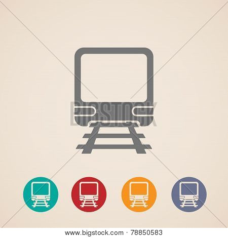 vector icon of train. metro, underground or subway train. rapid  transit sign. transportation concep