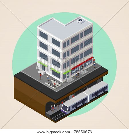 vector isometric 3d illustration of city street, building and metro, subway or underground station.