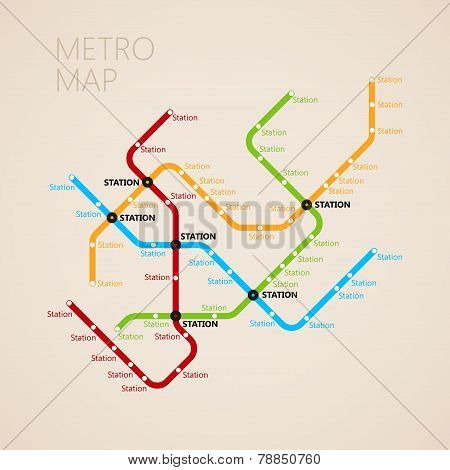 metro or subway map design template. transportation concept