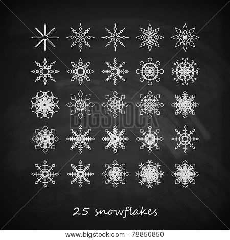 vector set of 25  graceful snowflakes on the blackboard background